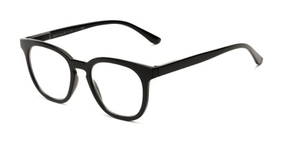 Angle of The Decker in Black, Women's Retro Square Reading Glasses