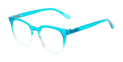 Angle of The Decker in Aqua Blue Fade, Women's Retro Square Reading Glasses