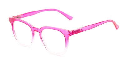 Angle of The Decker in Hot Pink Fade, Women's Retro Square Reading Glasses