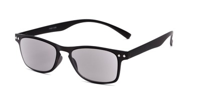 Angle of The Declan Flexible Reading Sunglasses in Black with Smoke, Women's and Men's Retro Square Reading Sunglasses