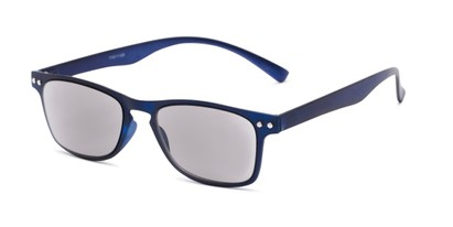 Angle of The Declan Flexible Reading Sunglasses in Blue with Smoke, Women's and Men's Retro Square Reading Sunglasses