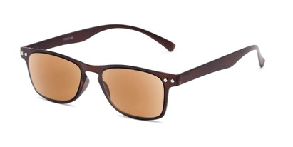 Angle of The Declan Flexible Reading Sunglasses in Brown with Amber, Women's and Men's Retro Square Reading Sunglasses