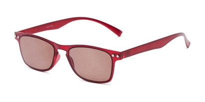 Angle of The Declan Flexible Reading Sunglasses in Red with Amber, Women's and Men's Retro Square Reading Sunglasses