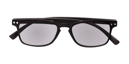 Folded of The Declan Flexible Reading Sunglasses in Black with Smoke