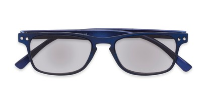 Folded of The Declan Flexible Reading Sunglasses in Blue with Smoke