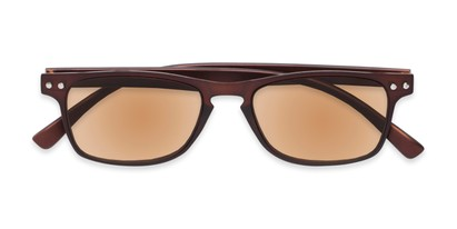 Folded of The Declan Flexible Reading Sunglasses in Brown with Amber