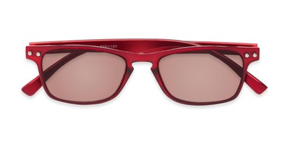 Folded of The Declan Flexible Reading Sunglasses in Red with Amber