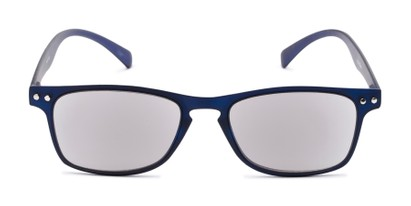 Front of The Declan Flexible Reading Sunglasses in Blue with Smoke
