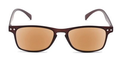 Front of The Declan Flexible Reading Sunglasses in Brown with Amber