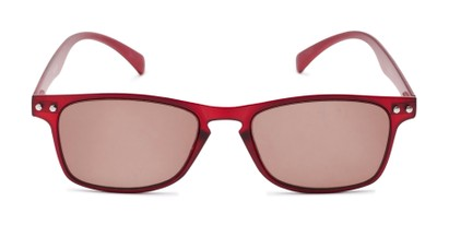 Front of The Declan Flexible Reading Sunglasses in Red with Amber