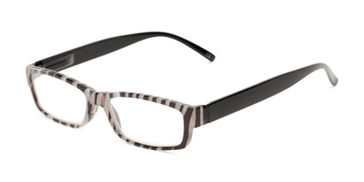 Angle of The Delaney in Black Multi/Black, Women's Rectangle Reading Glasses