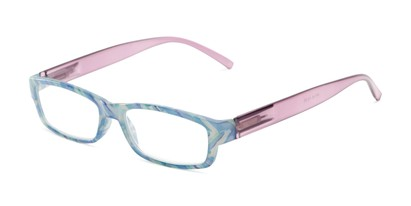 Angle of The Delaney in Blue Multi/Purple, Women's Rectangle Reading Glasses
