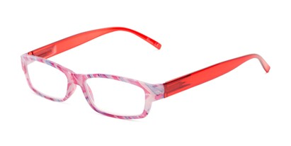 Angle of The Delaney in Pink Multi/Red, Women's Rectangle Reading Glasses