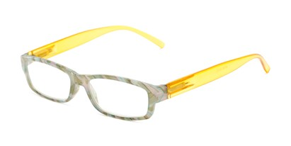 Angle of The Delaney in Green Multi/Yellow, Women's Rectangle Reading Glasses