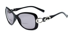 Angle of The Delia Bifocal Reading Sunglasses in Black with Smoke, Women's Retro Square Reading Sunglasses