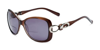 Angle of The Delia Bifocal Reading Sunglasses in Brown with Smoke, Women's Retro Square Reading Sunglasses