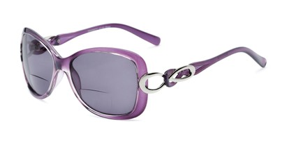 Angle of The Delia Bifocal Reading Sunglasses in Purple with Smoke, Women's Retro Square Reading Sunglasses