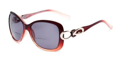 Angle of The Delia Bifocal Reading Sunglasses in Red with Smoke, Women's Retro Square Reading Sunglasses