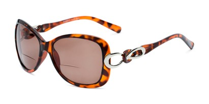 Angle of The Delia Bifocal Reading Sunglasses in Tortoise with Amber, Women's Retro Square Reading Sunglasses
