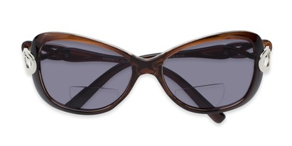 Folded of The Delia Bifocal Reading Sunglasses in Brown with Smoke