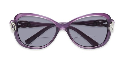 Folded of The Delia Bifocal Reading Sunglasses in Purple with Smoke