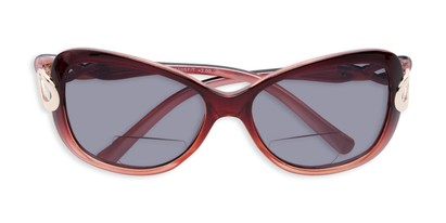 Folded of The Delia Bifocal Reading Sunglasses in Red with Smoke