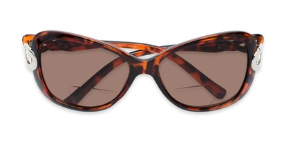 Folded of The Delia Bifocal Reading Sunglasses in Tortoise with Amber