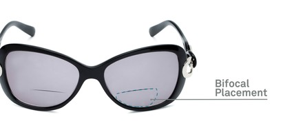 Detail of The Delia Bifocal Reading Sunglasses in Black with Smoke