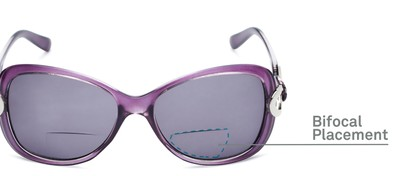 Detail of The Delia Bifocal Reading Sunglasses in Purple with Smoke