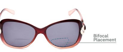 Detail of The Delia Bifocal Reading Sunglasses in Red with Smoke