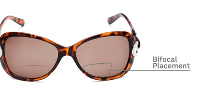 Detail of The Delia Bifocal Reading Sunglasses in Tortoise with Amber