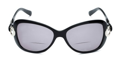 Front of The Delia Bifocal Reading Sunglasses in Black with Smoke