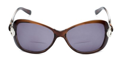 Front of The Delia Bifocal Reading Sunglasses in Brown with Smoke