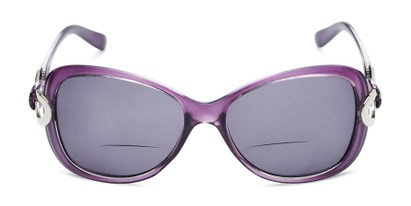 Front of The Delia Bifocal Reading Sunglasses in Purple with Smoke