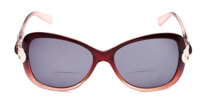Front of The Delia Bifocal Reading Sunglasses in Red with Smoke