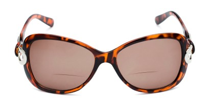 Front of The Delia Bifocal Reading Sunglasses in Tortoise with Amber