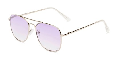 Angle of The Delphi Tinted Reader in Silver/Purple Gradient, Women's and Men's Aviator Reading Glasses