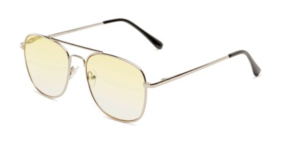 Angle of The Delphi Tinted Reader in Silver/Yellow Gradient, Women's and Men's Aviator Reading Glasses