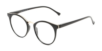 Angle of The Dewey in Black/Gold, Women's and Men's Round Reading Glasses