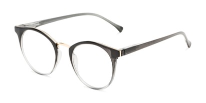 Angle of The Dewey in Black Fade/Gold, Women's and Men's Round Reading Glasses