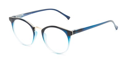 Angle of The Dewey in Blue Fade/Gold, Women's and Men's Round Reading Glasses