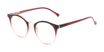 Angle of The Dewey in Red Fade/Gold, Women's and Men's Round Reading Glasses