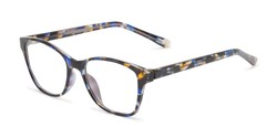 Angle of The Esme Customizable Reader in Blue Tortoise, Women's Cat Eye Reading Glasses