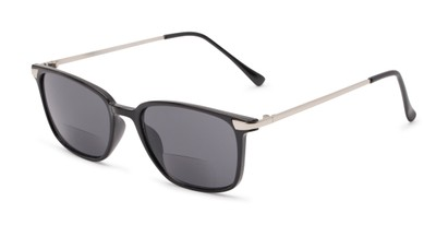 Angle of The Dodger Bifocal Reading Sunglasses in Glossy Black with Smoke, Women's and Men's Retro Square Reading Sunglasses