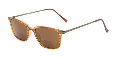Angle of The Dodger Bifocal Reading Sunglasses in Glossy Brown Stripe with Amber, Women's and Men's Retro Square Reading Sunglasses