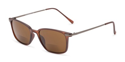 Angle of The Dodger Bifocal Reading Sunglasses in Matte Brown with Amber, Women's and Men's Retro Square Reading Sunglasses