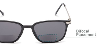 Detail of The Dodger Bifocal Reading Sunglasses in Glossy Black with Smoke