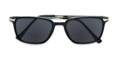 Folded of The Dodger Bifocal Reading Sunglasses in Glossy Black with Smoke