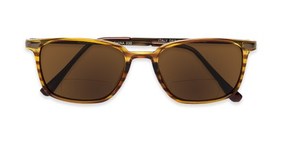 Folded of The Dodger Bifocal Reading Sunglasses in Glossy Brown Stripe with Amber
