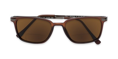 Folded of The Dodger Bifocal Reading Sunglasses in Matte Brown with Amber